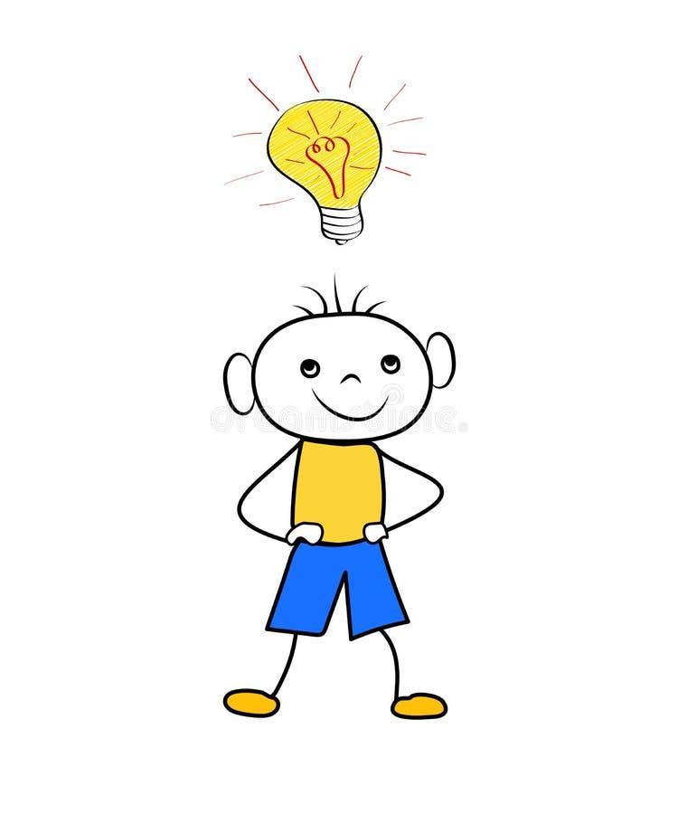 Ragazzo del fumetto con la lampadina - concetto dell'idea isolato su fondo bianco Scarabocchio d'avanguardia illustrazione di stock