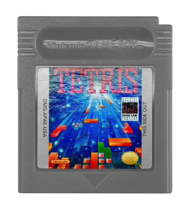 Ragazzo del gioco di Tetris Nintendo fotografia stock