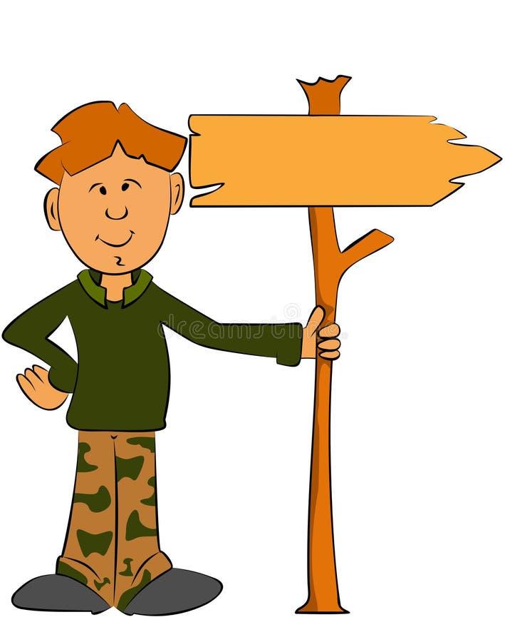 Ragazzo del guardia forestale che tiene un segno illustrazione di stock