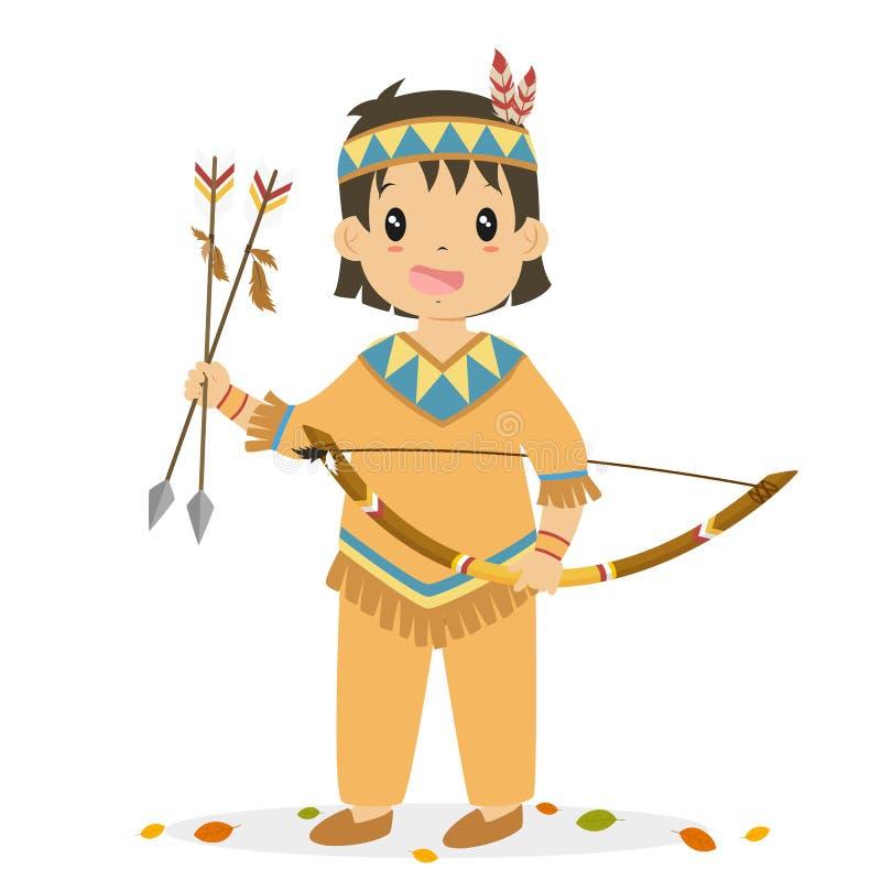 Ragazzo del nativo americano che tiene un arco e un vettore del fumetto delle frecce illustrazione vettoriale