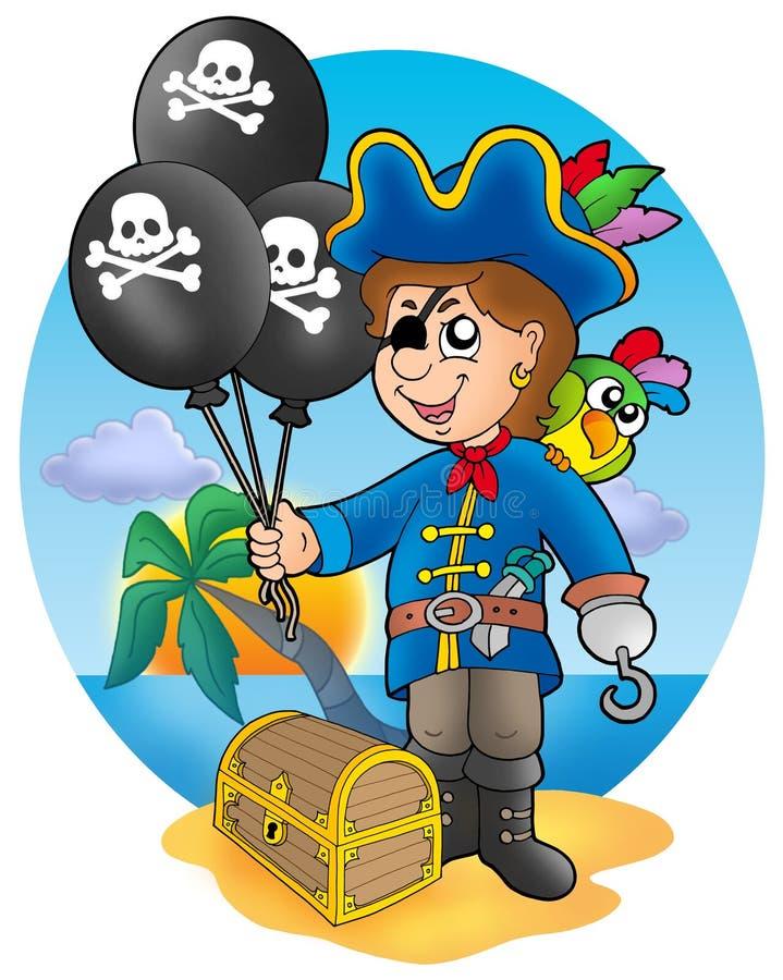 Ragazzo del pirata con gli aerostati sulla spiaggia illustrazione vettoriale