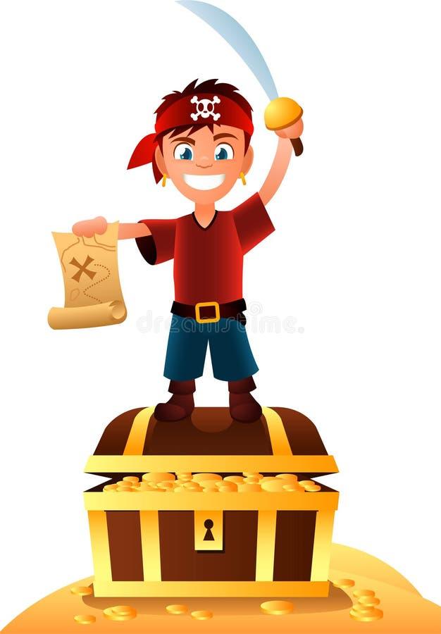 Ragazzo del pirata con il tesoro illustrazione di stock