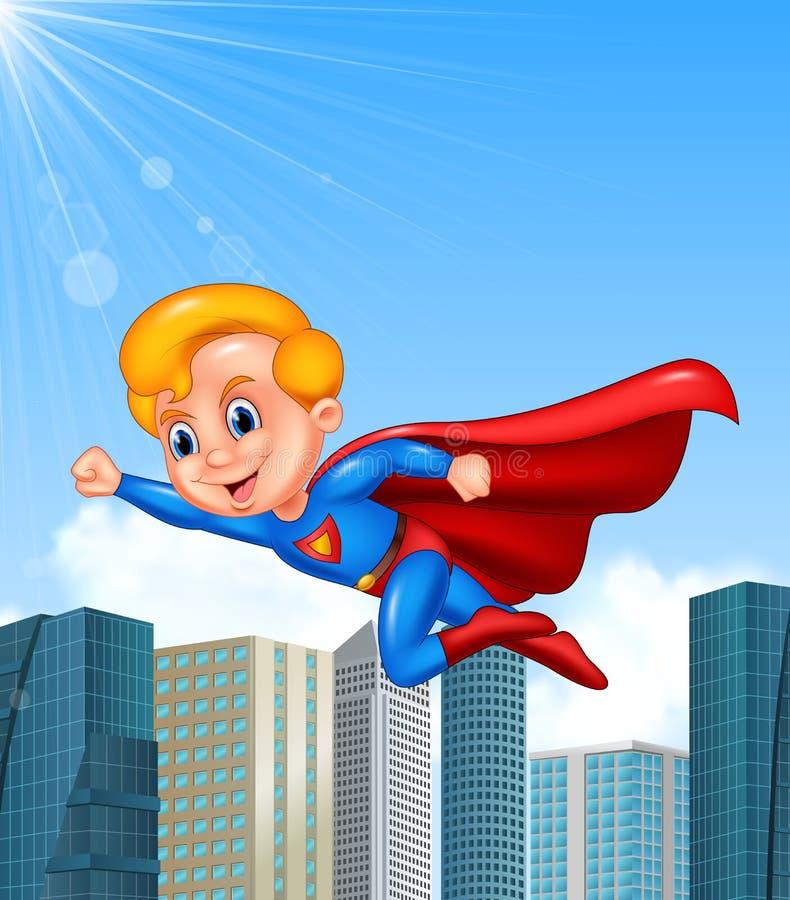 Ragazzo del supereroe del fumetto con il fondo del grattacielo illustrazione di stock