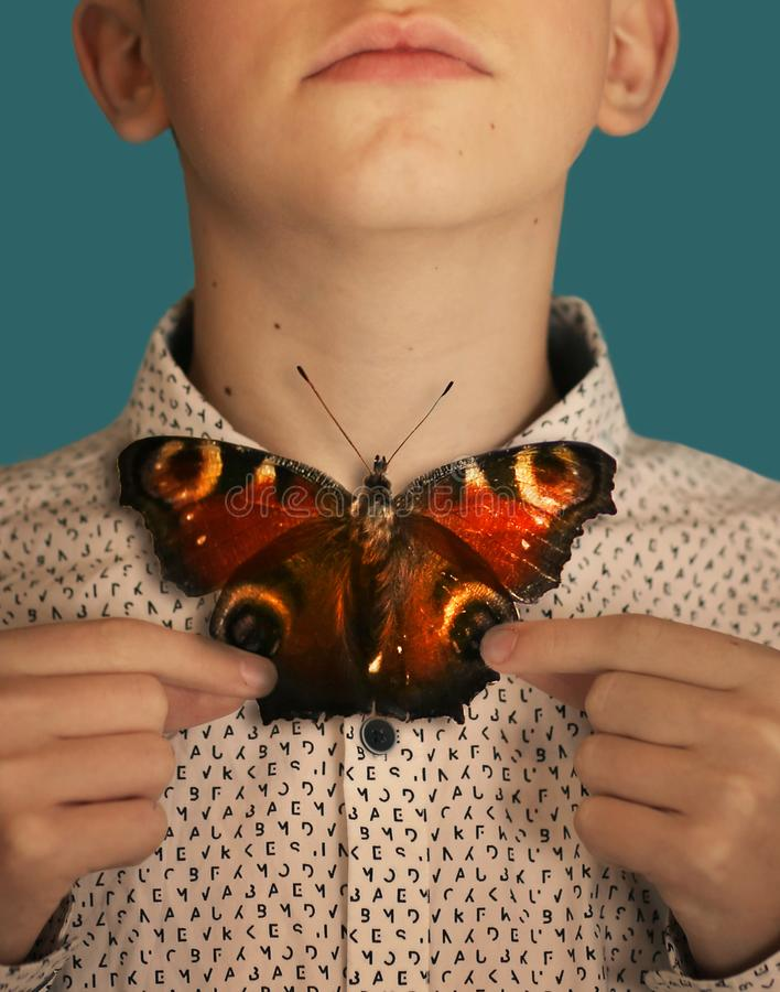 Ragazzo dell'adolescente con il farfallino della farfalla immagine stock libera da diritti
