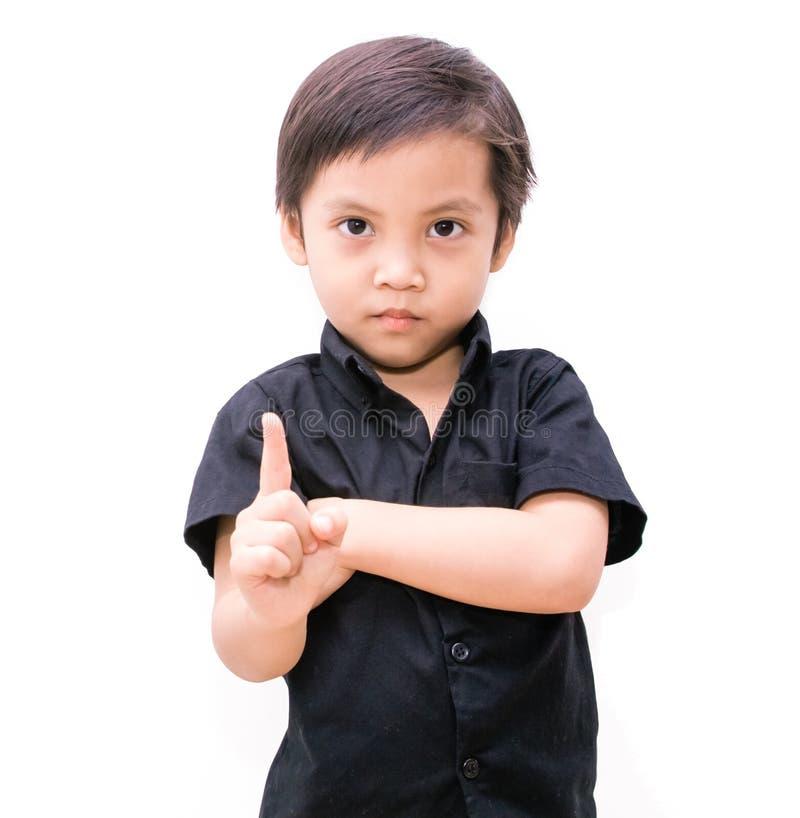 Ragazzo dell'Asia del bambino che mostra il numero uno fotografie stock libere da diritti