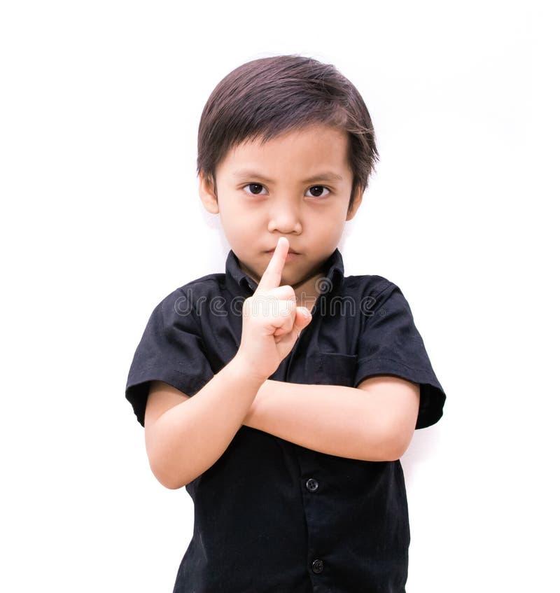 Ragazzo dell'Asia del bambino che mostra il numero uno immagini stock