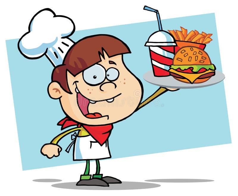 Ragazzo dell'hamburger che sostiene un cheeseburger illustrazione vettoriale