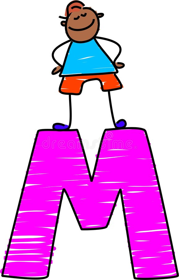Ragazzo della lettera m. royalty illustrazione gratis