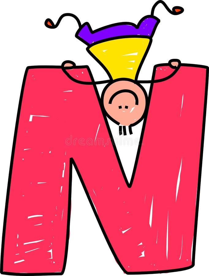 Ragazzo della lettera N illustrazione di stock