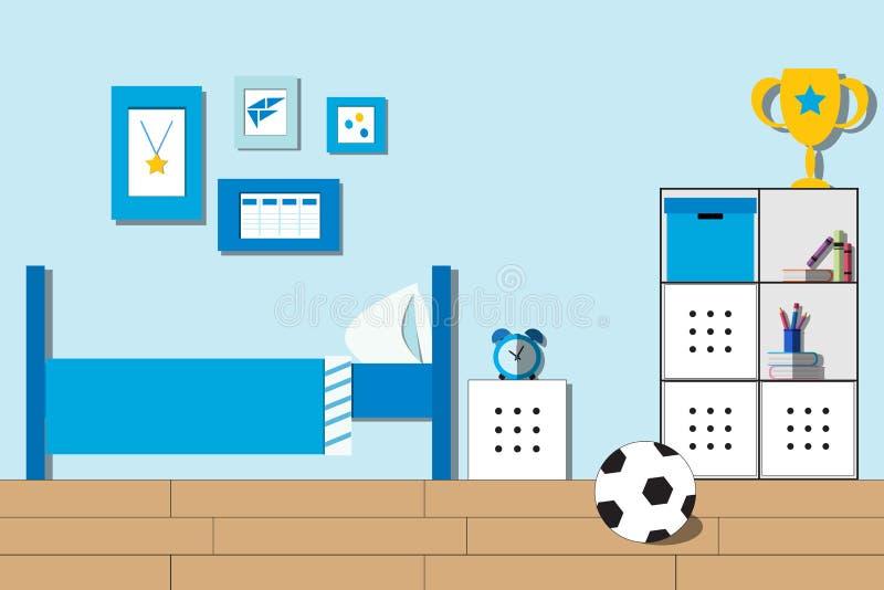 Ragazzo della stanza, stanza dell'adolescente o interno della camera da letto dello studente Stile piano illustrazione di stock