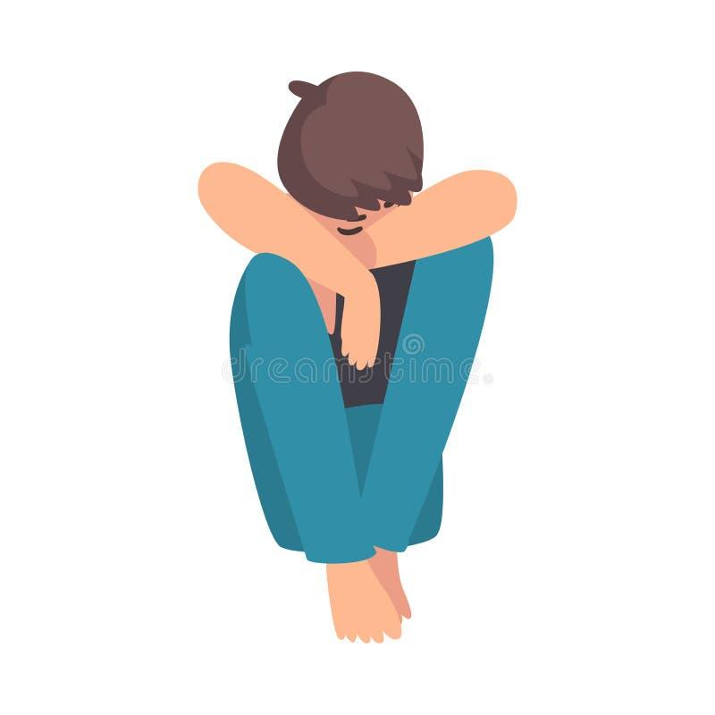 Ragazzo depresso che si siede sul pavimento che abbraccia le sue ginocchia, adolescente sollecitato infelice, ragazzo solo, ansio illustrazione di stock