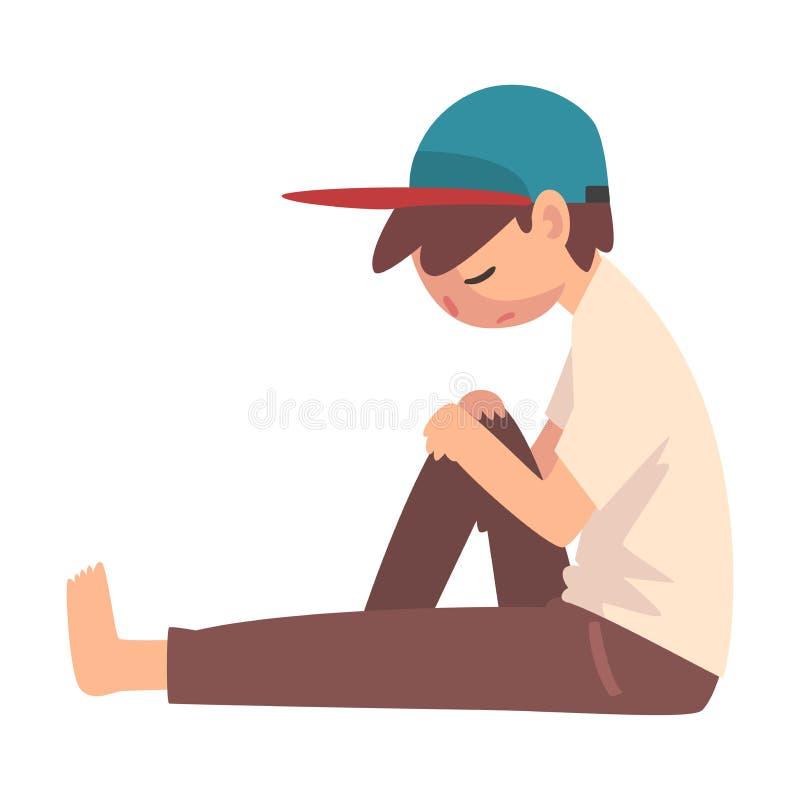 Ragazzo depresso che si siede sul pavimento, adolescente sollecitato infelice, illustrazione sola, ansiosa, abusata di vettore de illustrazione vettoriale