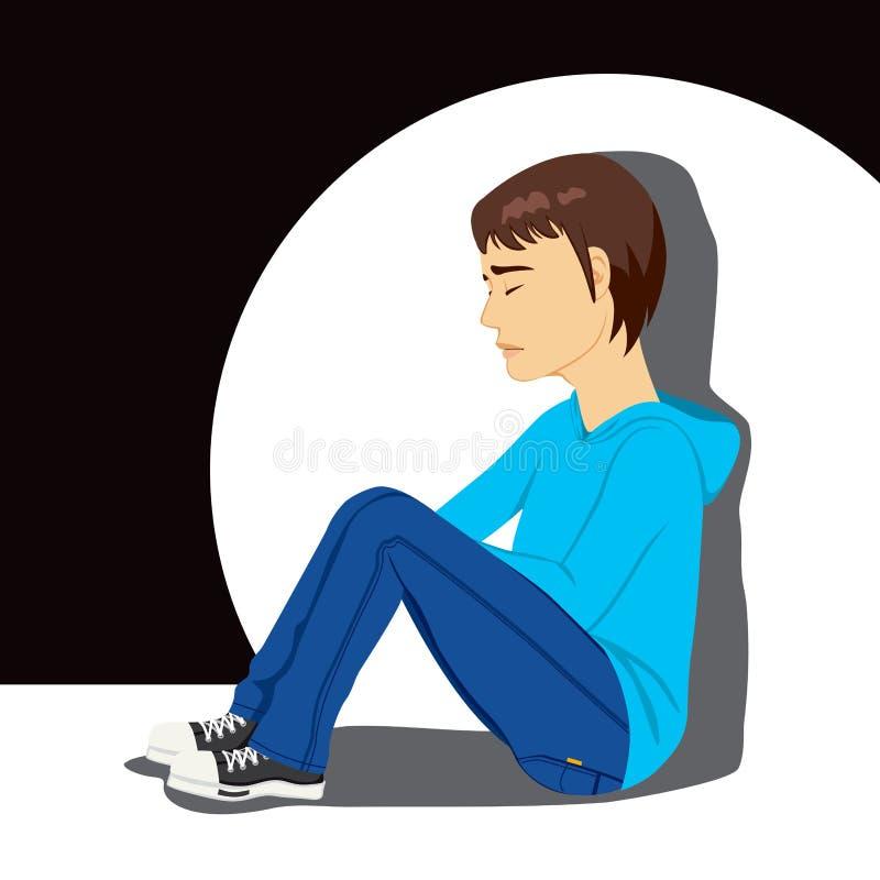 Ragazzo depresso triste dell'adolescente illustrazione di stock