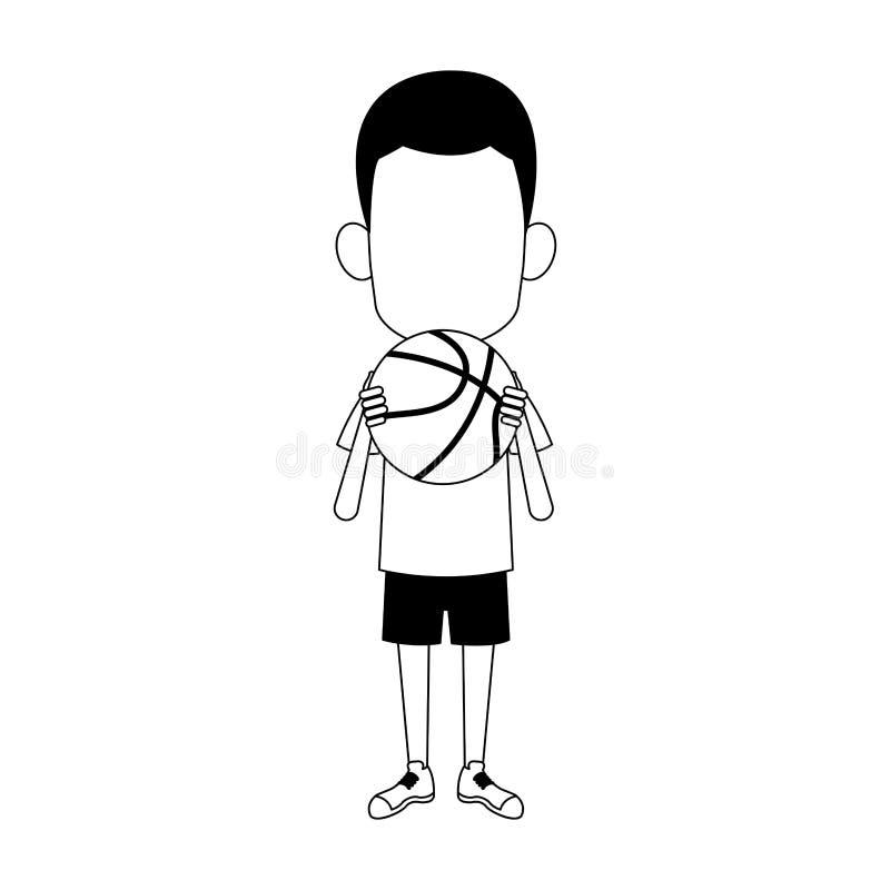 Ragazzo di afro con la palla di pallacanestro in bianco e nero royalty illustrazione gratis