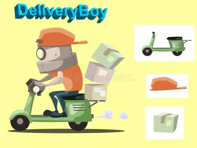 Ragazzo di consegna del robot illustrazione di stock