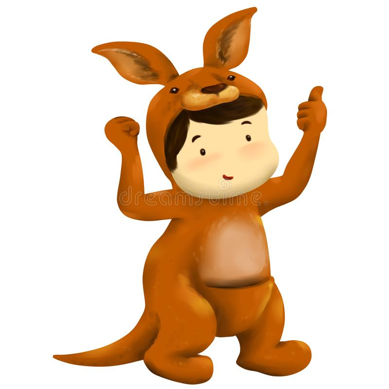 Ragazzo di Joey, vestiti dal ragazzo in costume rosso del canguro illustrazione di stock