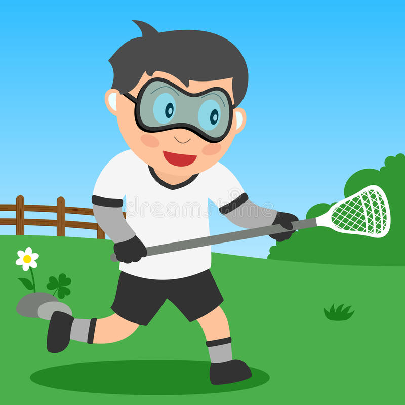 Ragazzo di Lacrosse nella sosta illustrazione vettoriale