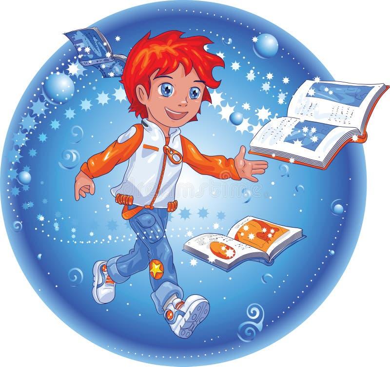 Ragazzo di magia del libro illustrazione di stock