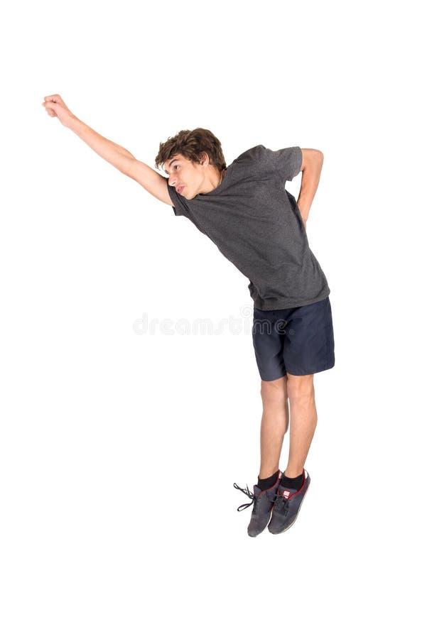Ragazzo di salto isolato fotografia stock