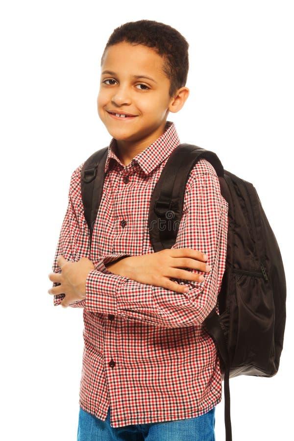 Ragazzo di scuola nero felice immagine stock libera da diritti