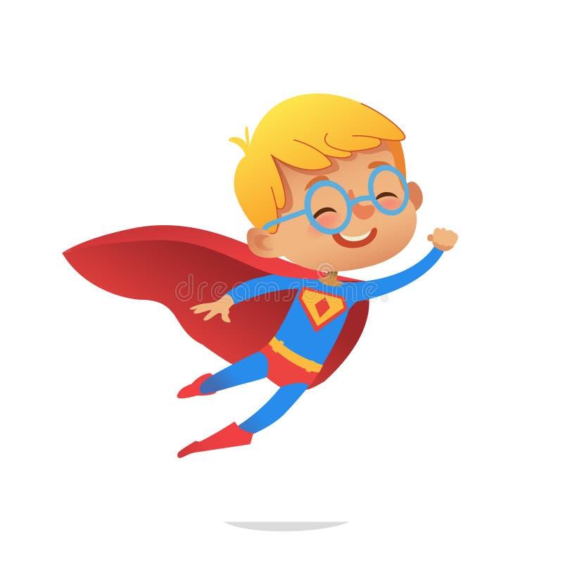 Ragazzo di volo che porta i costumi variopinti dei supereroi, isolati su fondo bianco Caratteri di vettore del fumetto del bambin royalty illustrazione gratis
