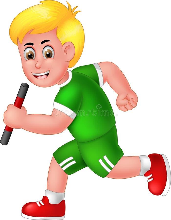 Ragazzo divertente del corridore nel fumetto verde della camicia illustrazione vettoriale