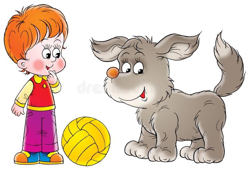 Ragazzo e cane illustrazione di stock