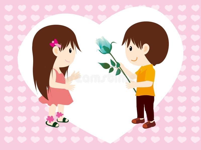 Ragazzo e fiori alla ragazza illustrazione vettoriale