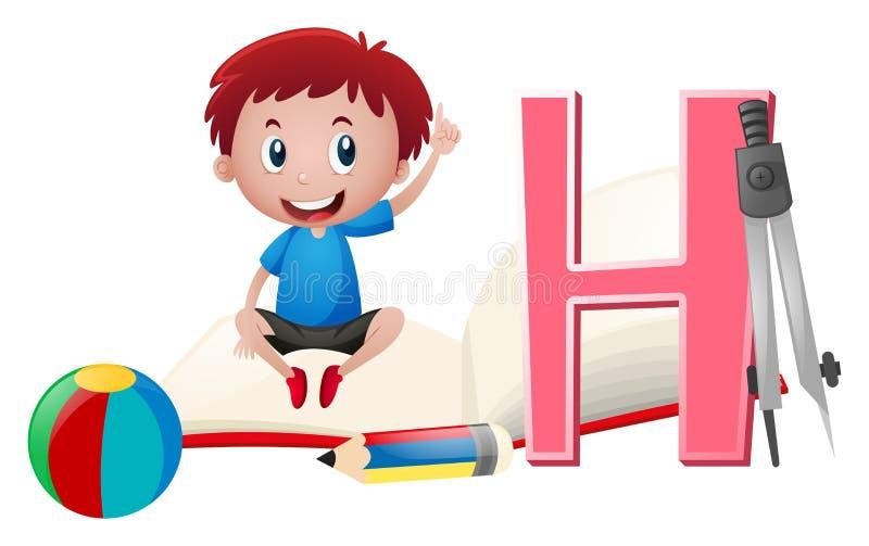 Ragazzo e lettera H sul libro illustrazione vettoriale