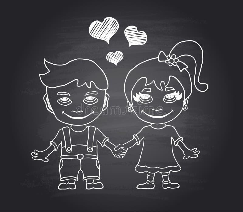 Ragazzo e ragazza amorosi di tiraggio della mano di vettore sulla lavagna nera illustrazione vettoriale