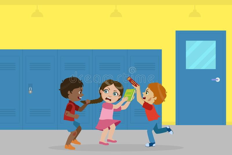 Ragazzo e ragazza che combattono per la palla, cattivo comportamento, conflitto fra i bambini, derisione, opprimente all'illustra illustrazione di stock