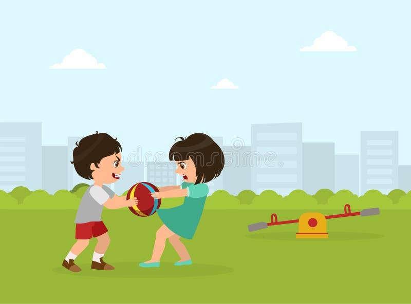 Ragazzo e ragazza che combattono per la palla, cattivo comportamento, conflitto fra i bambini, illustrazione di vettore illustrazione di stock