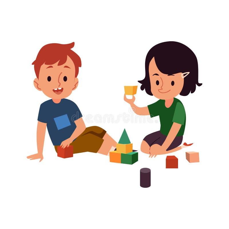 Ragazzo e ragazza che giocano con i blocchi - due bambini di asilo del fumetto divertendosi gioco con il giocattolo della costruz illustrazione di stock
