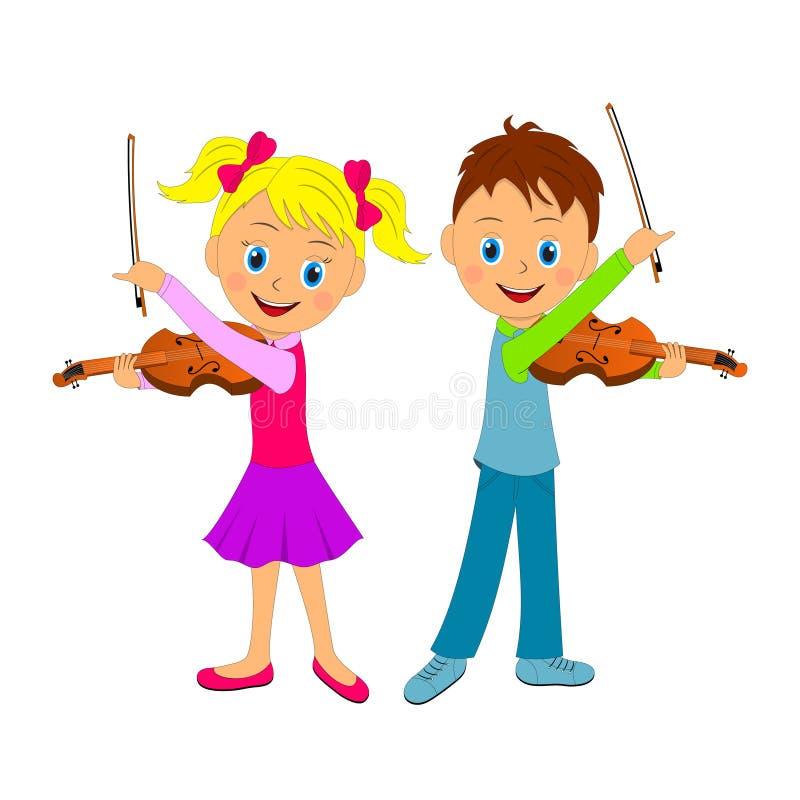 Ragazzo e ragazza che giocano il violino illustrazione di stock