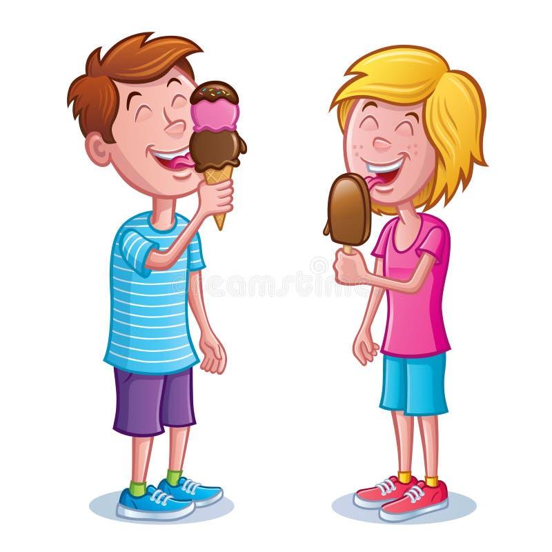 Ragazzo e ragazza che leccano il gelato illustrazione vettoriale