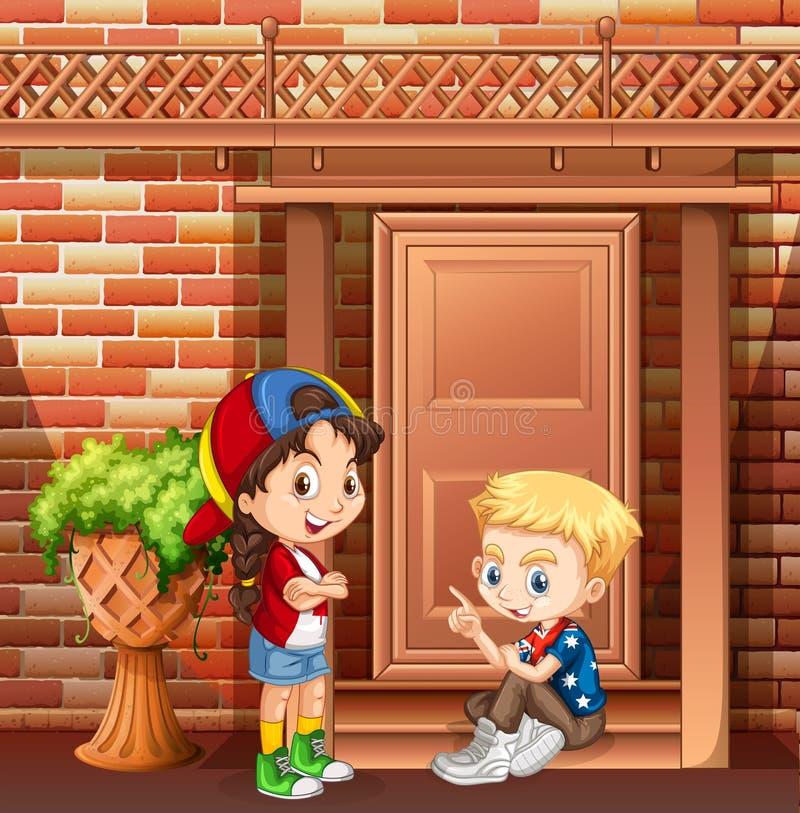 Ragazzo e ragazza che vanno in giro davanti alla casa illustrazione di stock