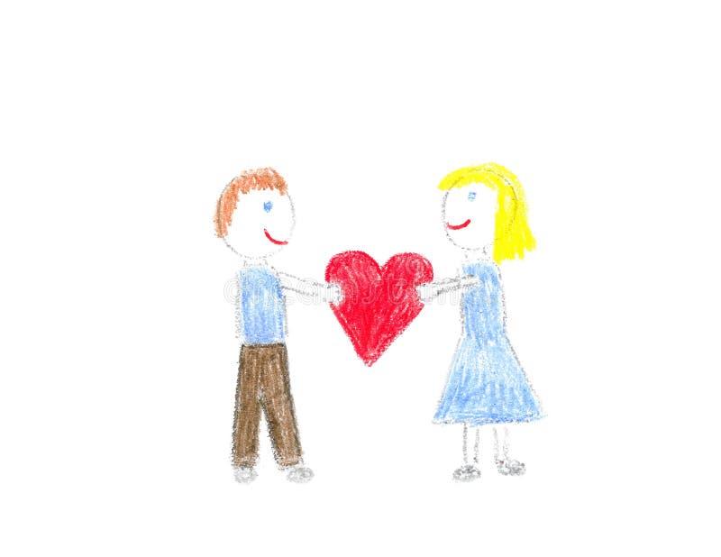 Ragazzo e ragazza con cuore fotografia stock
