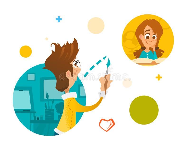 Ragazzo e ragazza dei giovani in Internet della rete sociale illustrazione vettoriale