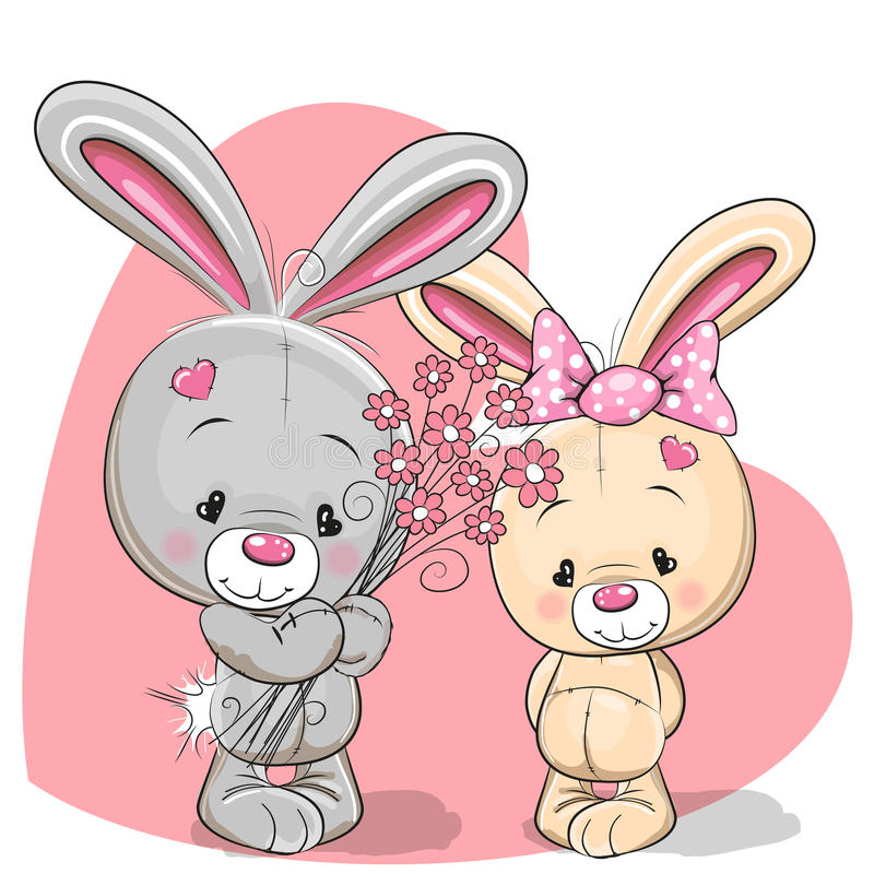 Ragazzo e ragazza del coniglio illustrazione di stock