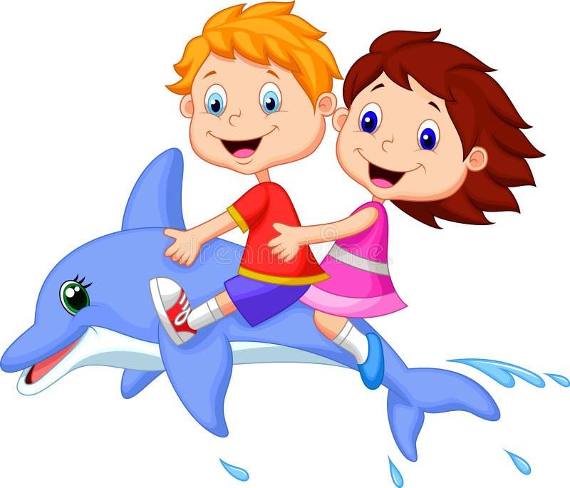Ragazzo e ragazza del fumetto che guidano un delfino illustrazione vettoriale