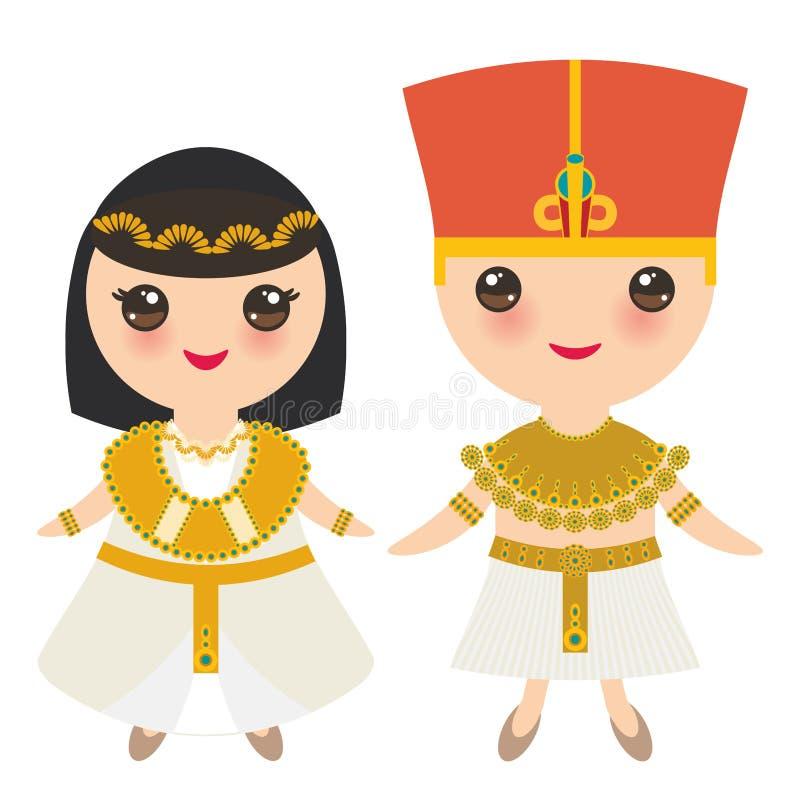 Ragazzo e ragazza di egitto antico in costume e cappello nazionali Bambini del fumetto in vestito tradizionale Isolato su priorit royalty illustrazione gratis