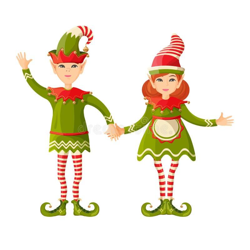 Ragazzo e ragazza di Elf che si tengono per mano maschio femminile soprannaturale a forma di umana royalty illustrazione gratis