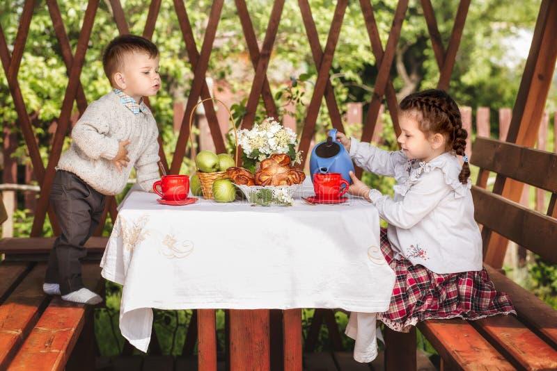 Ragazzo e ragazza nel tè della bevanda di dépendance con i panini di estate fotografia stock libera da diritti