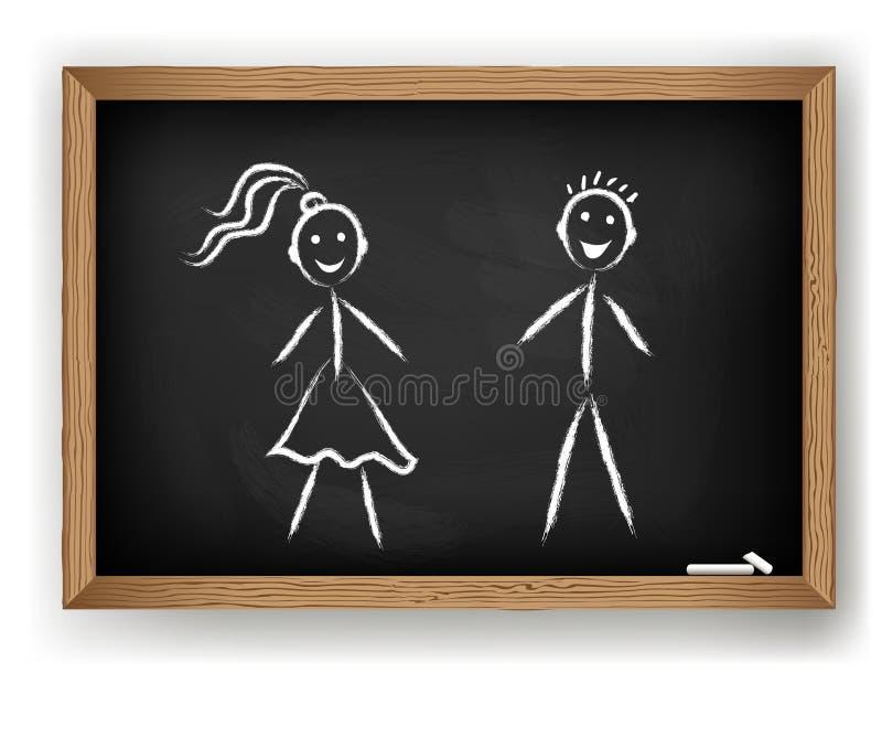 Ragazzo e ragazza sulla lavagna illustrazione vettoriale