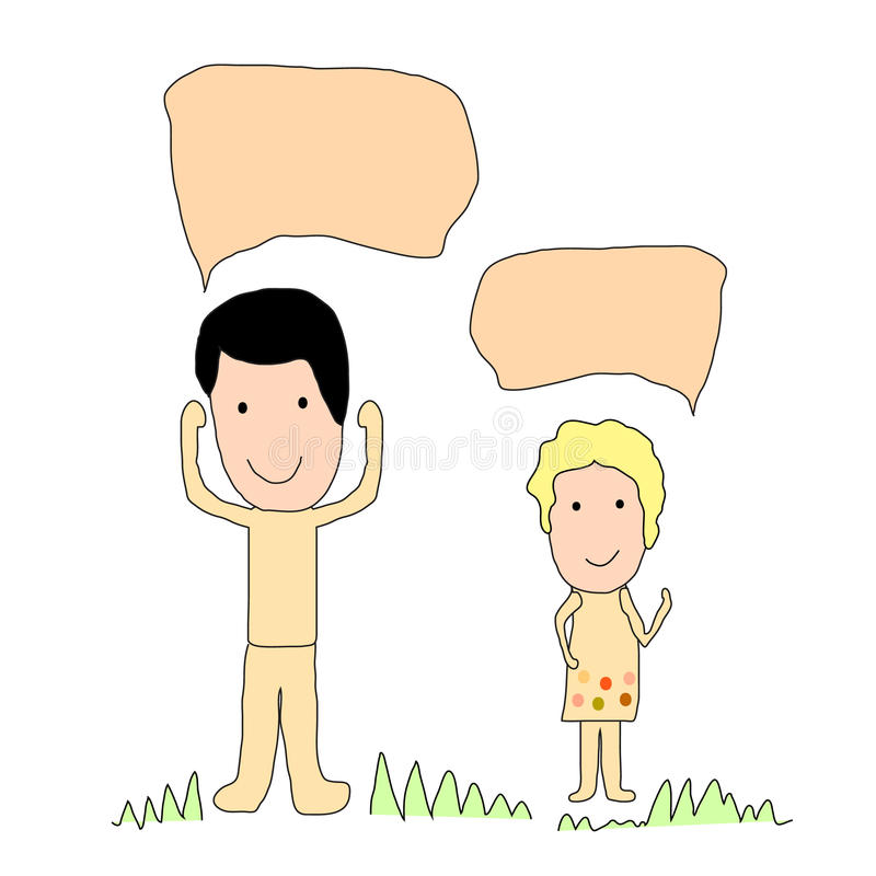 Ragazzo e ragazza svegli con il fumetto illustrazione vettoriale