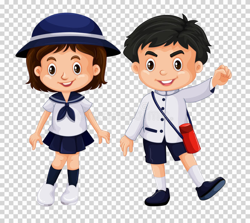 Ragazzo e ragazza in uniforme scolastico royalty illustrazione gratis