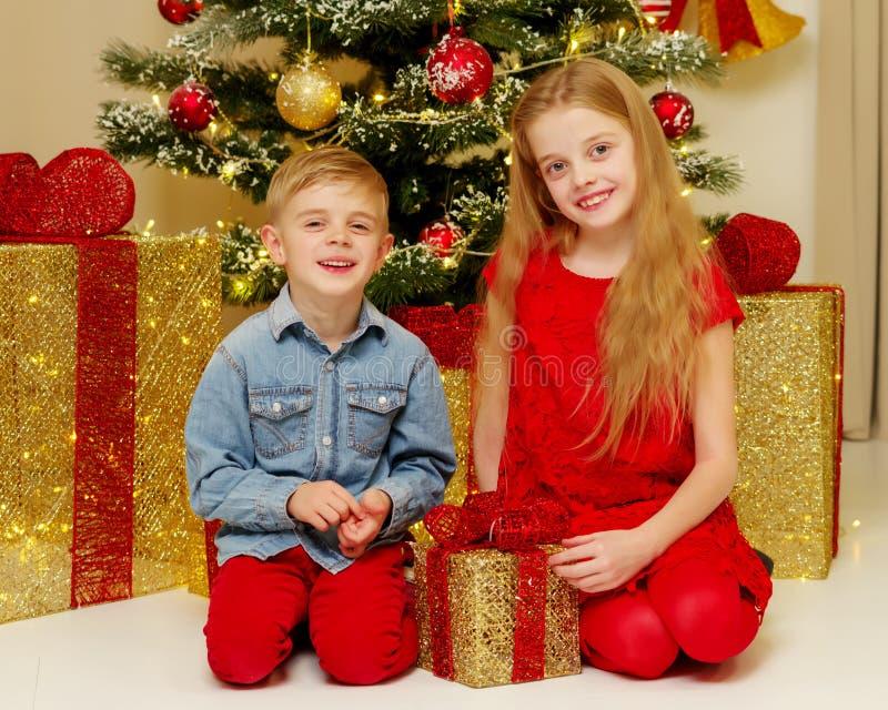 Ragazzo e ragazza vicino all'albero di Natale immagine stock