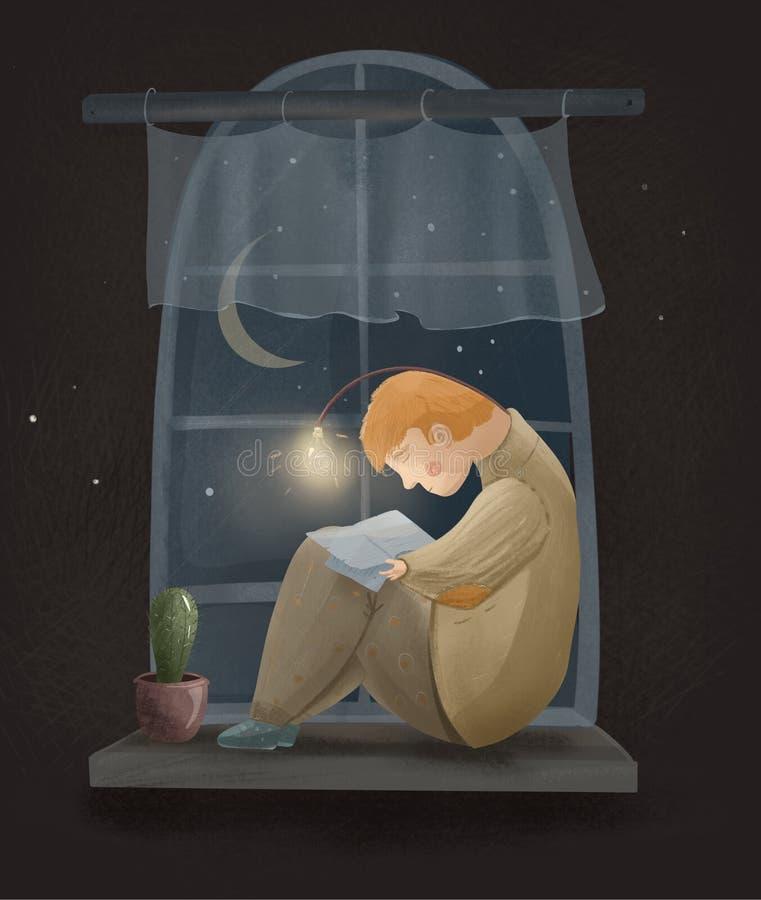 Ragazzo favoloso che si siede sulla finestra e che legge un libro sotto la lampada fotografie stock