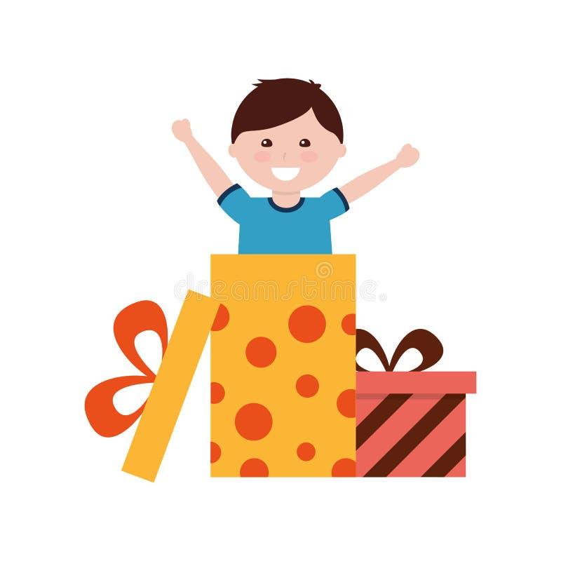 Ragazzo felice che viene fuori compleanno del contenitore di regalo royalty illustrazione gratis