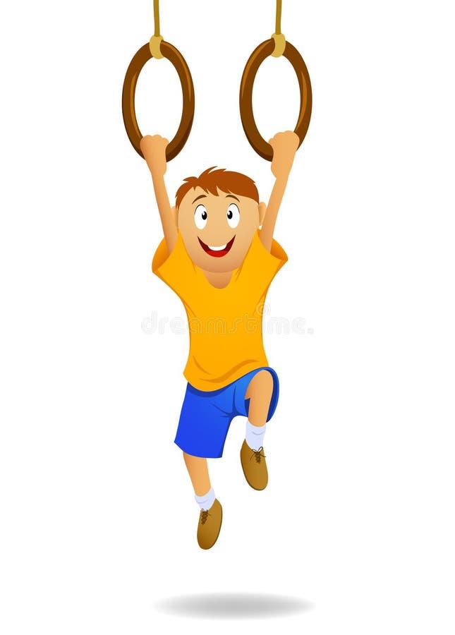Ragazzo felice del fumetto che appende sugli anelli relativi alla ginnastica illustrazione vettoriale